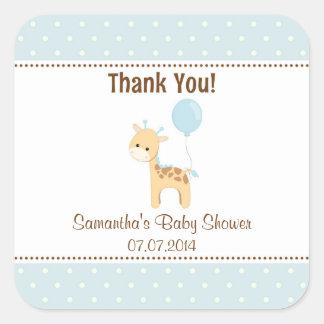 Giraffe Baby Shower Thank You Stickers (Blue)