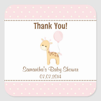 Giraffe Baby Shower Thank You Stickers (Pink)