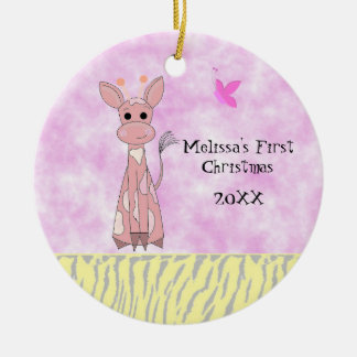 Giraffe Baby's First Christmas Ceramic Ornament