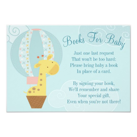 Giraffe Balloon Baby Shower Book Card Bring A Book Zazzle