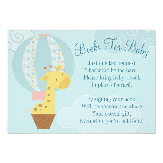 Beautiful Giraffe Balloon Baby Shower Book Card Bring A Book