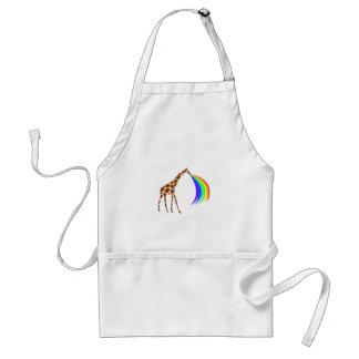 Giraffe barfing a rainbow adult apron