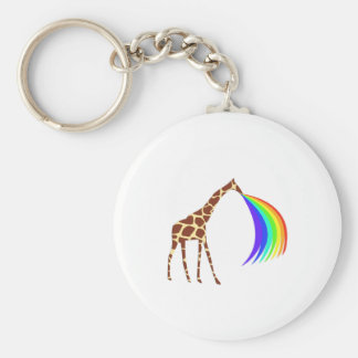 Giraffe barfing a rainbow basic round button keychain