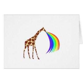 Giraffe barfing a rainbow greeting cards