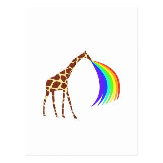 Giraffe barfing a rainbow postcard