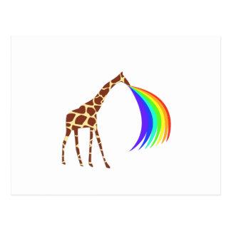 Giraffe barfing a rainbow post card