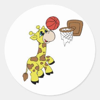 Giraffe Basketball Round Sticker