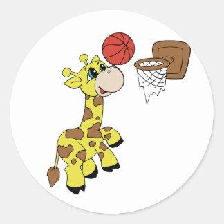Giraffe Basketball T-shirts and Gifts Round Sticker