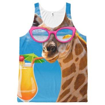 Giraffe beach - funny giraffe All-Over-Print tank top