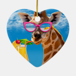 Giraffe beach - funny giraffe ceramic ornament