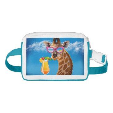 Beach Themed Giraffe beach - funny giraffe fanny pack