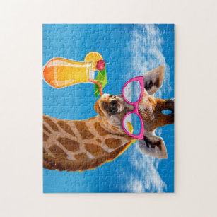 Giraffe beach - funny giraffe jigsaw puzzle