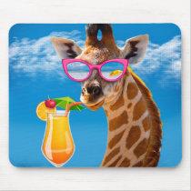 Giraffe beach - funny giraffe mouse pad