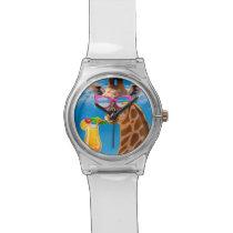 Giraffe beach - funny giraffe wristwatch