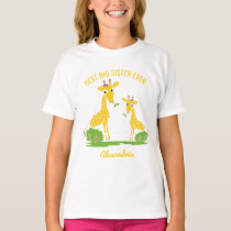 Giraffe Best Big Sister Ever Girls Personalized T-Shirt