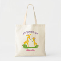 Giraffe Best Big Sister Ever Girls Personalized Tote Bag