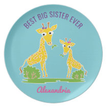 Giraffe Best Big Sister Ever Sisters Personalized Plate