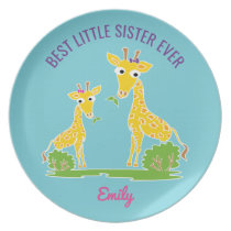 Giraffe Best Little Sister Ever Personalized Kids Dinner Plate