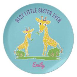 Giraffe Best Little Sister Ever Personalized Kids Dinner Plate  sc 1 st  Zazzle & Kid Giraffe Plates | Zazzle