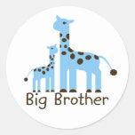 Giraffe Big Brother Classic Round Sticker