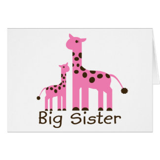 Giraffe Big Sister Greeting Card