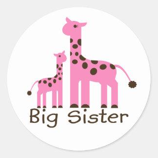 Giraffe Big Sister Classic Round Sticker