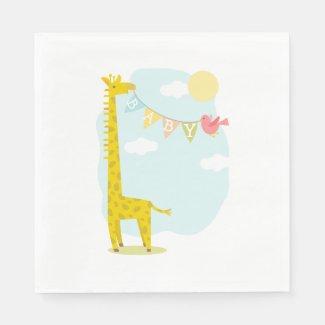 Giraffe + Bird Baby Shower Napkins Standard Luncheon Napkin