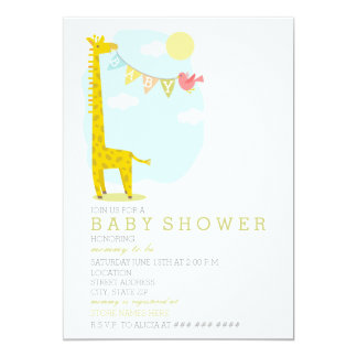 Giraffe + Bird Neutral Baby Shower Card