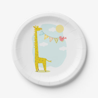 Giraffe + Bird Neutral Baby Shower Paper Plate