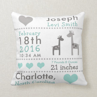 Giraffe Birth Stats Nursery Throw Pillow
