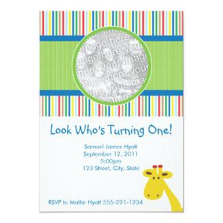 """Giraffe Birthday Invitation and Announcement 5"""" X 7"""" Invitation Card"""
