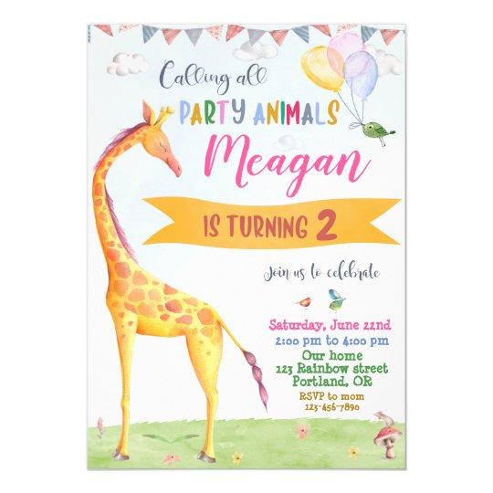 Giraffe Birthday Invitation Safari Jungle Party