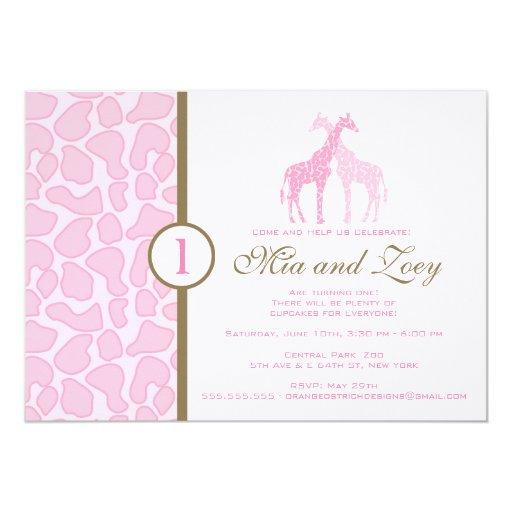 Giraffe Birthday Invitation - Twin Girls
