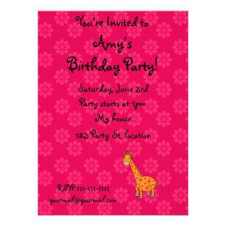 Giraffe birthday invitation with pink flowers