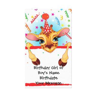 Giraffe Birthday Memento Canvas Print