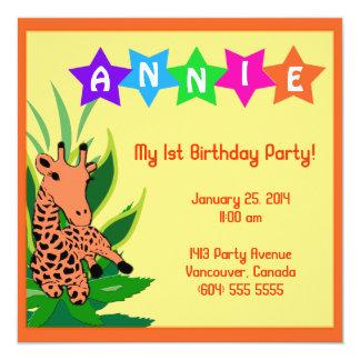 """Giraffe Birthday Party Invitation Customizable 5.25"""" Square Invitation Card"""