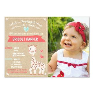 Giraffe Birthday Party Invitation First Birthday