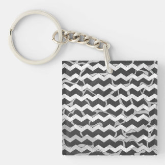 Giraffe Black and Gray Chevron Pattern Double-Sided Square Acrylic Keychain
