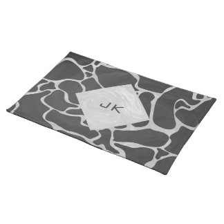 Giraffe Black and Light Gray Monogram Cloth Placemat