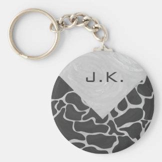 Giraffe Black and Light Gray Monogram Basic Round Button Keychain