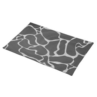 Giraffe Black and Light Gray Print Cloth Placemat