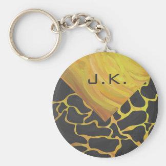 Giraffe Black and Yellow Print Basic Round Button Keychain