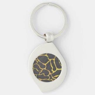 Giraffe Black and Yellow Print Silver-Colored Swirl Metal Keychain