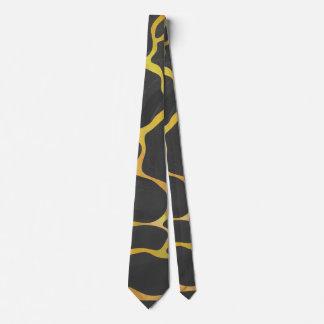 Giraffe Black and Yellow Print Tie
