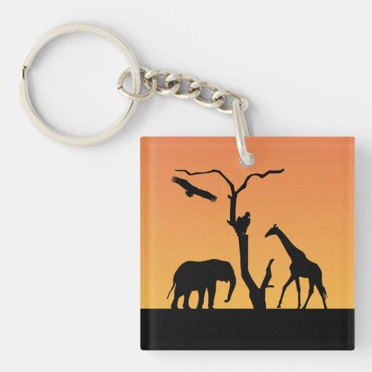 Giraffe black silhouette african orange sunset keychain