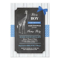Giraffe Blue Baby Shower Party Boy Wood Invite