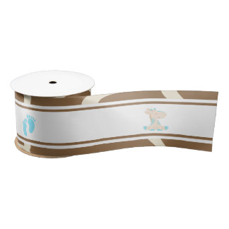 Giraffe Blue Boy Baby Shower Satin Ribbon
