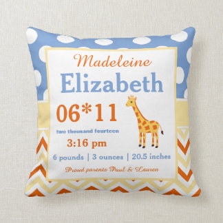 Giraffe Blue Yellow Baby Announcement Pillow