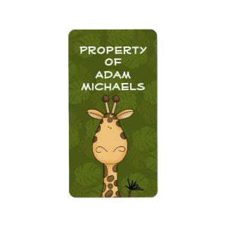 Giraffe Bookplate Label Address Label