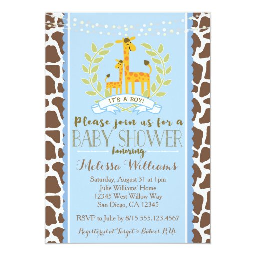 Giraffe Boy Blue Baby Shower Invitation